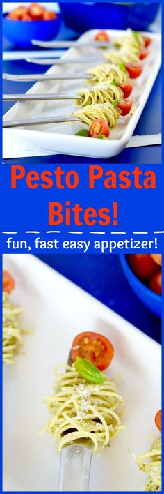 Simple to make, packed full of flavor, this recipe for Pesto Pasta Bites is a cute way to serve pasta as an appetizer! (And you can make it ahead too!)