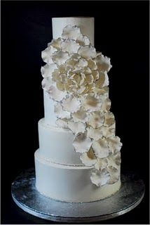 We began our journey with cake when my bride came in with a with a picture of a cake from a magazine. It was a very plain fondant cake wit. Cascading Flowers, Big Flowers, Flower Petals, Gorgeous Cakes, Pretty Cakes, Amazing Cakes, Petal Cake, Cake Blog, Cake Pictures