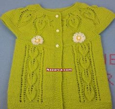 Knitting For Kids, Baby Knitting, Crochet Baby, Knit Crochet, Baby Cardigan Knitting Pattern Free, Lace Knitting Patterns, Vestidos Chiffon, Moda Outfits, Baby Pullover