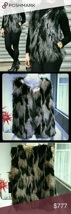 BLACK & WHITE FAUX FUR VEST Brand new Boutique item Price is firm  Stunning, black&white soft faux fur vest! A must have for every girl! Make this fabulous fur vest a staple piece in your wardrobe. Vest pairs perfectly with jeans&your favorite shirt or leggings &a sweater, even over your favorite dress! Fully lined.   Faux fur 80% acrylic 20% polyester. Lining 100% polyester  . (Model is not wearing actual vest but similar, no pockets) . Jackets & Coats Vests