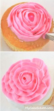 Two different ways to pipe a rose cupcake using Tip 104 (mycakeschool.com).