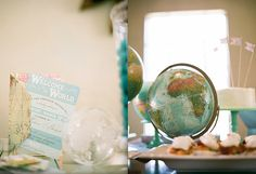 """""""Welcome to the world""""- baby shower theme!! Love this!! My husband & I have a serious love for globes!"""