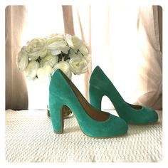 "Urban Outfitters turquoise suede heels. Kimchi Blue from Urban Outfitters. Curved 3.5"" heel. Turquoise suede. Never worn. Leather upper textile lining. Urban Outfitters Shoes Heels"