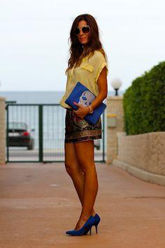 short + top + heels in royal blue !