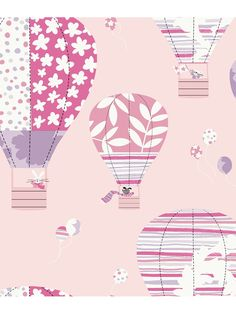 This colorful hot air balloon wallpaper has striped, floral and polka dotted balloons in multiple colors. Whimsical animals enjoy the ride in the basket of the hot air balloom including a dog, a rabbit and a cute pink pig. Waving as they enjoy their flight, they have pretty balloons held aloft as they float through a cloudless sky.