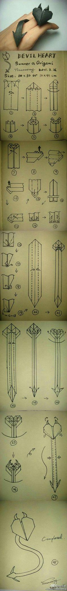 Devil heart💓 Instruções Origami, Origami Ball, Origami And Kirigami, Paper Crafts Origami, Heart Origami, Oragami, Origami Bookmark, Origami Hearts, Dollar Origami