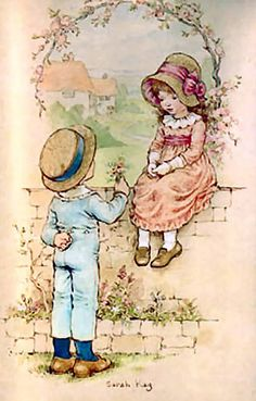 by sarah kay Sarah Key, Precious Moments, Old Illustrations, Decoupage Vintage, Holly Hobbie, Cute Illustration, Vintage Cards, Paper Dolls, Cute Art