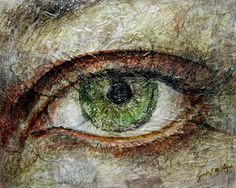 Mixed media collage eye drawing by SarahEMcIntyre on Etsy