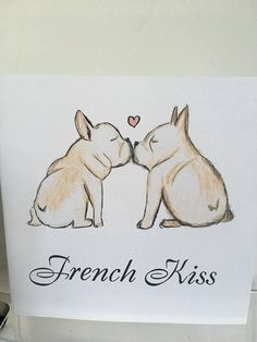 French bulldog frenchie french kiss valentines card for