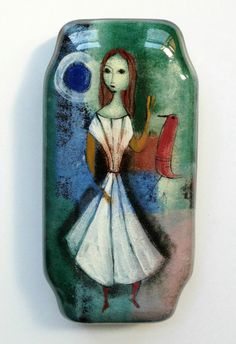 POLIA PILLIN Polish American modernist pottery woman red bird
