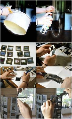 Awesome DIY Photo slides lampshade