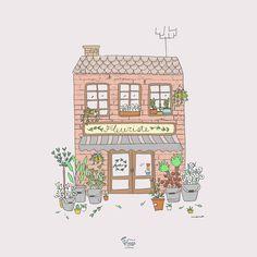 Fleuriste. Flower shop Illustration.