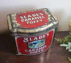 VTG 1930'S Slade'S Caramel Toffy Candy TIN Litho Hinged BOX England | eBay