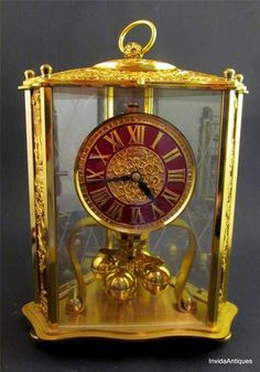 Rare -   Kern & Sohne German Brass Rococo Ornate Red Dial 400 Day Clock Anniversary Gold
