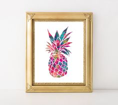 Pineapple Printable Art Print Tropical Pineapple Print Tropical Wall Art Hot Pink Blue Pineapple Poster Nursery Decor 11x14 Instant Download by MossAndTwigPrints on Etsy