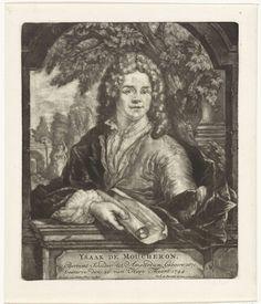 Arnoud van Halen   Portret van Isaac de Moucheron, Arnoud van Halen, Ysack Greve, 1744   De schilder en architect Isaac de Moucheron in een venster voor een tuin. In de hand een opgerold papier.