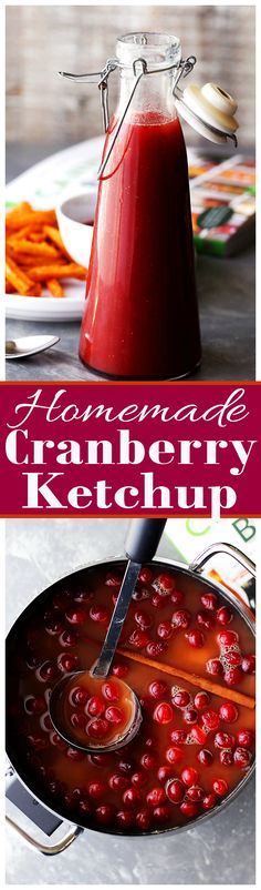 Cranberry Ketchup Recipe - Sweet and tangy homemade ketchup with delicious fall spices and cranberries!: