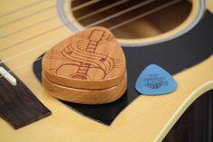 Guitar Pick Box, Pattern G39, Solid Cherrywood, Laser Engraved, Paul Szewc http://etsy.me/20mgDVE