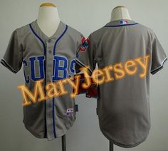 """$23.88 at """"MaryJersey""""(maryjerseyelway@gmail.com) Cubs Blank Grey Alternate Road Cool Base Stitched Youth Baseball Jersey"""