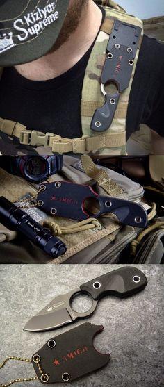 Kizlyar KK0091 Amigo X D2 Russian Made Titanium Tactical EDC Fixed Neck Pocket Knife Blade
