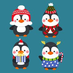 Cute cartoon penguins merry christmas vector. Premium Vector | Premium Vector #Freepik #vector #background #christmas #ribbon #vintage Merry Christmas Vector, Noel Christmas, Christmas Tree Ornaments, Christmas Crafts, Christmas Ribbon, Christmas Cartoons, Christmas Characters, Xmas Wallpaper, Easy Drawings Sketches