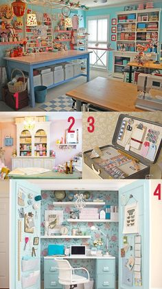 dream craft rooms/sewing room for Darla! Space Crafts, Home Crafts, Home Projects, Craft Space, Craft Room Storage, Room Organization, Craft Rooms, Rm 1, Sewing Rooms