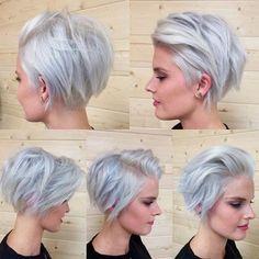 short silver grey blonde choppy bob-cut, not color for me. Short Choppy Haircuts, Short Hair Cuts, Choppy Hairstyles, Pixie Cuts, Hairstyles 2018, Bob Haircuts, Gray Hairstyles, Latest Hairstyles, Haircut Short