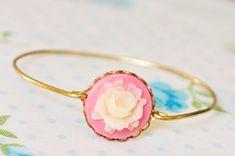 Girl's Rose Cameo Bangle Flower Bangle by SweetAuburnStudioKid
