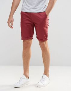 ASOS – Figurbetonte Chino-Shorts in Burgunderrot