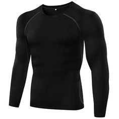 Men Summer 2017 Long Sleeve Fitness Crossfit T Shirts Tight Elastic Wicking Tops Casual Solid Tops Tees Plus Size Male Clothing