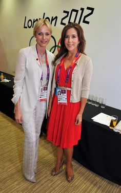 Crown Princess Mary of Denmark (R) and Princess Charlene of Monaco arrive for the Olympic Games 2012 Opening Ceremony on July 27, 2012 in London, England.