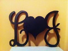16-inch Love Letter Monogram, Valentines Day Monogram, Bedroom Wall Decor, Wood Monogram Letters