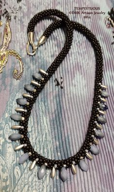 "TUTORIAL ONLY - ""TEMPESTUOUS"" Double Row Drop Kumihimo Necklace for Kumihimo Disk or Marudai"
