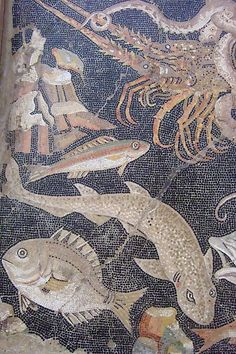 Marine Life Mosaic from House VIII Pompeii demonstrating the vermiculatum technique Roman 2nd century BCE (1) by mharrsch, via Flickr