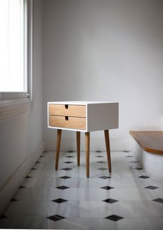 $432 White nightstand / Bedside Table Scandinavian by Habitables. Youch, price! But so, so nice...