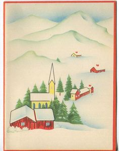 VINTAGE 1940'S CHRISTMAS MINIMALISM RED HOUSE CHURCH SNOW VILLAGE GREETING CARD Old Christmas, Vintage Christmas Cards, Christmas And New Year, Christmas Holidays, New Year Greeting Cards, New Year Greetings, Vintage Greeting Cards, Buddy The Elf, 1940s