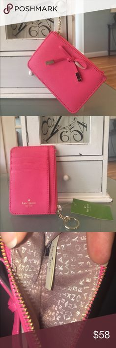 Kate Spade bitsy cherrywood street pink NWT Kate Spade bitsy cherrywood street pink card holder with keychain, Gold hardware, accented with the bow 🎀 four slots for credit cards or an ID, one open pocket as well as a  zippered pocket for coins cash etc. NWT kate spade Bags Wallets