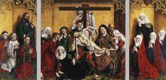 ROGIER VAN DER WEYDEN, pittore. La deposizione della croce. Olio su tavola di 270x262 cm databile al 1433-35. Conservato al museo del Prodo, Madrid.
