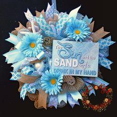 Deco Mesh Wreath, Burlap Mesh Wreath, Blue Mesh Wreath, Beach Door Decor, Mesh…