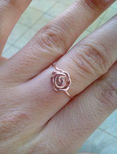 Rose Gold Rose Ring Wire Wrapped Rose Ring Rose Gold Ring