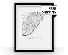 Our Barcelona map print features the stunning geography and street patterns of this great city.  This complex and precise map print will fit stylish