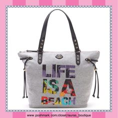 """Juicy Couture Gray """"Life Is A Beach"""" Bling Tote HPNWT Juicy Couture """"Life Is A Beach"""" bling sport tote give you a trendy look! The bag features a sporty design with """"Life Is A Beach"""" rhinestone accents, Shoulder straps, Zipper closure, Interior: Pink, 2 slip pockets & zip pocket, faux leather.  *13.25""""H x 18.25""""W x 6""""D, Drop down handles length: 9.75"""" *Bundle Discounts, Smoke-Free, No Trades Juicy Couture Bags Totes"""