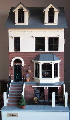 dollhouse that is a town house type of thing Cardboard Dollhouse, Dollhouse Kits, Dollhouse Dolls, Dollhouse Miniatures, Miniature Furniture, Dollhouse Furniture, Fairy Houses, Doll Houses, Little Houses