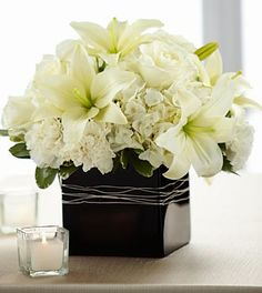 The FTD® State of Bliss™ Arrangement- Deluxe-Center pieces Coral Wedding Flowers, All Flowers, Flower Bouquet Wedding, Beautiful Flowers, Lily Bouquet, Send Flowers, Lily Centerpieces, Wedding Centerpieces, Wedding Decor