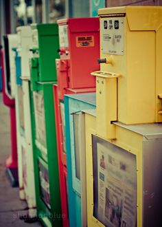 newspaper boxes photograph