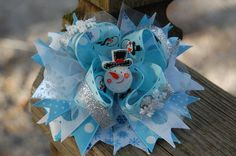 Blue Silver Christmas Snowman Stacked Boutique by AlyssasBowtique, $11.99
