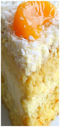 Orange Coconut Cake ~ Possibly one of the simplest and delicious cakes you could. Poke Cakes, Cupcake Cakes, Cake Icing, Cupcakes, Layer Cakes, Just Desserts, Delicious Desserts, Health Desserts, Cookie Recipes