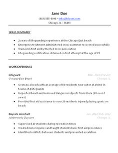 lifeguard eperience resume be professional pinterest