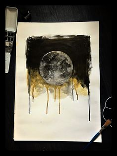 The moon in watercolor 🌑