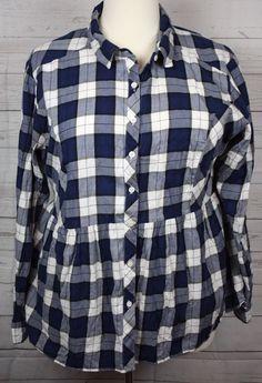 6530773ea05 Torrid Womens Navy Blue Plaid Button Front Long Sleeve 100% Cotton Shirt   Torrid  ButtonDownShirt  Versatile
